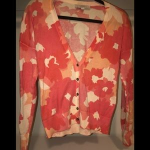 LOFT size XS shades of coral cardigan sweater